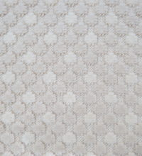 Bellbridge Applause Cream Custard 5560/5 color swatch. Action is a multi-level (created by cut and loop construction) pom design with two colorways-sand and ivory.