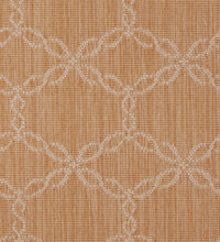 Bellbridge Lacewood Desert Sand 5171/414 color swatch. Lacewood is a textured loop pile wilton fabricated with striated yarns that create a oval ring design.