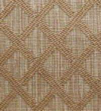 Bellbridge Satine Bourbon 5111/830 color swatch. Satine is a textured loop pile wilton fabricated with striated yarns as the background and solid yarns that create the diamond design.