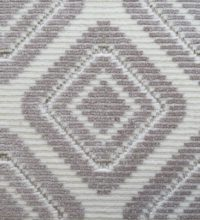 Bellbridge San Marco Topaz 5223/23 color swatch. San Marco is cut/loop wilton fabricated with 50% tencel and 50% wool yarns in colors of white and lt grey. The yarns create a diamond motif.