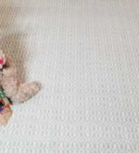 Bellbridge Mosaic Lt Green 620/1515 stylized image with toy stuffed bear against chair leg. Bellbridge Mosaic is a loop pile, handloomed with 2 yarn colors (lt green/white) creating a motif that resemble mosaic tiles.